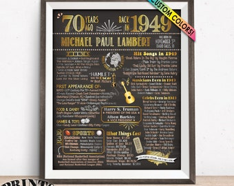 "Back in 1949 Birthday Poster, 70th Birthday Gift, 1949 Flashback 70 Years Ago Sign, Chalkboard Style PRINTABLE 8x10/16x20"" 1949 Bday Poster"