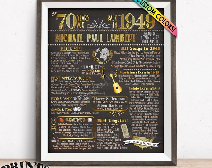 """Back in 1949 Birthday Poster, 70th Birthday Gift, 1949 Flashback 70 Years Ago Sign, Chalkboard Style PRINTABLE 8x10/16x20"""" 1949 Bday Poster"""