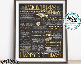 "1943 Birthday Flashback Poster, Back in 1943 Birthday Decorations, '43 B-day Gift, PRINTABLE 16x20"" B-day Sign <ID>"