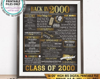 """Class of 2000 Reunion 18 Year Reunion Back in 2000 Flashback to 2000 18 Years Ago, Gold, PRINTABLE 8x10/16x20"""" Chalkboard Style Sign <ID>"""