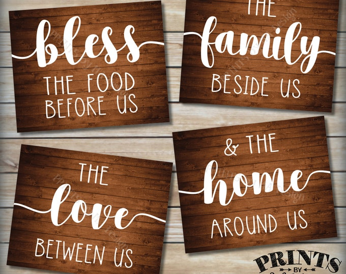 Bless the Food Before Us Family Beside Us Love Between Us Home Around Us, Kitchen Wall Decor, Four PRINTABLE Rustic Wood Style Signs <ID>