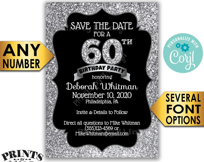 "Silver Glitter Birthday Party Save the Date, Black & Silver PRINTABLE 5x7"" Bday STD Invite Card, <Edit Yourself with Corjl>"