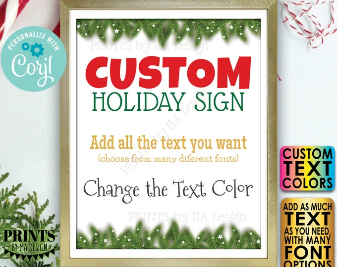 """Custom Holiday Sign, Christmas Pine Tree Branches, Stars, Choose Your Text, Create 1 PRINTABLE 8x10/16x20"""" Xmas Sign <Edit Yourself w/Corjl>"""