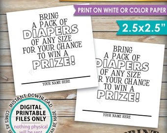 """Diaper Raffle Tickets, Bring a Pack of Diapers to Win a Prize, Diaper Party, Baby Shower Game, PRINTABLE 2.5"""" Tickets on 8.5x11"""" Sheet <ID>"""