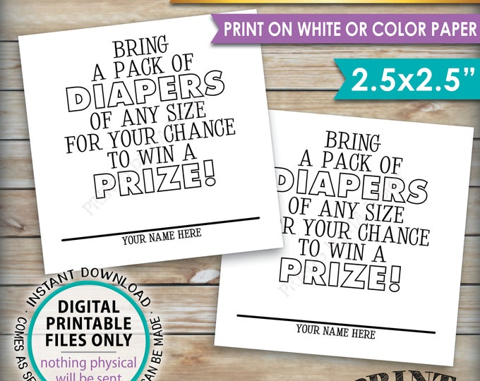 "Diaper Raffle Tickets, Bring a Pack of Diapers to Win a Prize, Diaper Party, Baby Shower Game, PRINTABLE 2.5"" Tickets on 8.5x11"" Sheet <ID>"