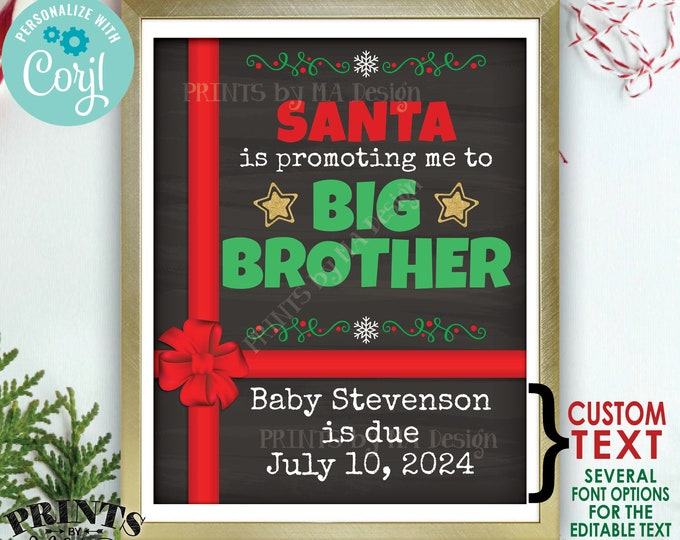 """Christmas Pregnancy Announcement, Santa is Promoting me to Big Brother, PRINTABLE 8x10/16x20"""" Baby Number 2 Sign <Edit Yourself with Corjl>"""