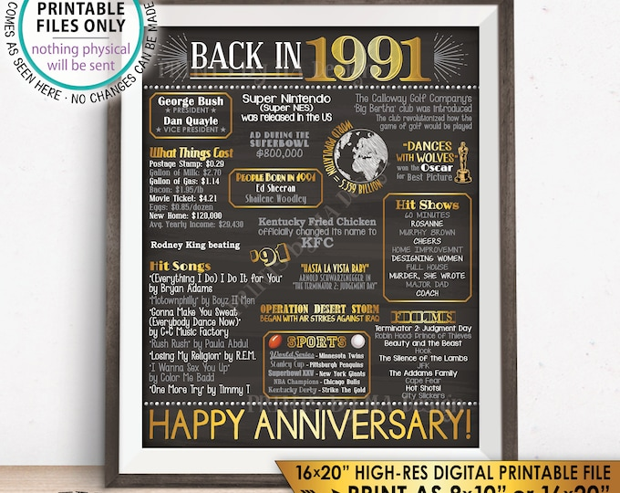 "1991 Anniversary Poster, Back in 1991 Anniversary Gift, Flashback to 1991 Party Decoration, PRINTABLE 16x20"" Sign <ID>"