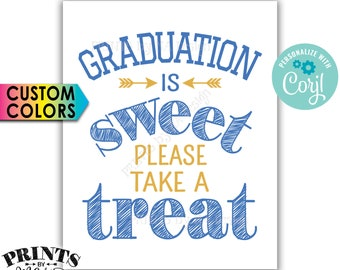 "Graduation is Sweet Please Take a Treat, Graduation Party Decoration, PRINTABLE 8x10"" Sign <Edit Colors Yourself with Corjl>"