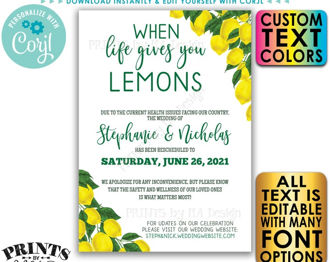 Editable Wedding is Postponed Announcement, When Life Gives You Lemons, Change the Date, Digital Printable File <Edit Yourself w/Corjl>