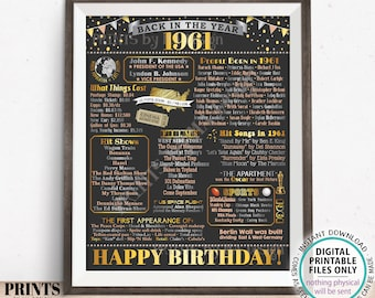 """Back in the Year 1961 Birthday Sign, Flashback to 1961 Poster Board, '61 B-day Gift, Bday Decoration, PRINTABLE 16x20"""" Sign <ID>"""