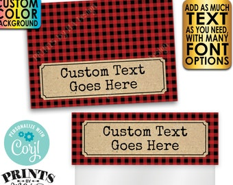 """Lumberjack Goodie Bag Toppers, Custom Background Color, Custom PRINTABLE 5x7"""" Labels for Plastic Bags <Edit Yourself with Corjl>"""
