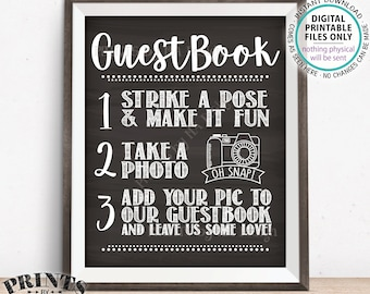 """Guestbook Photo Sign, Wedding Guestbook Sign, Guest Book Photo Wedding Sign, Share, PRINTABLE 8x10/16x20"""" Chalkboard Style Selfie Sign <ID>"""