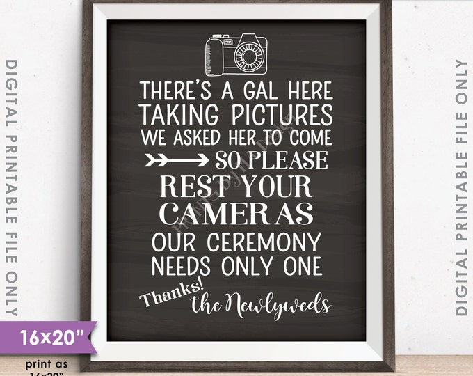 """Unplugged Wedding Sign, No Cameras at the Ceremony Sign, Only One Photographer, 8x10/16x20"""" Chalkboard Style Printable Instant Download"""