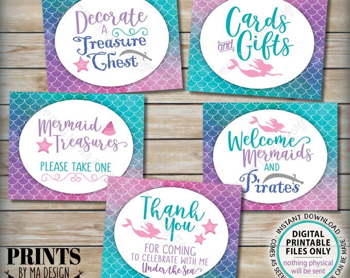 "Mermaid and Pirate Party Signs, Under the Sea Cards & Gifts Mermaid Birthday Party Bundle, Five PRINTABLE 8x10"" Watercolor Style Signs <ID>"