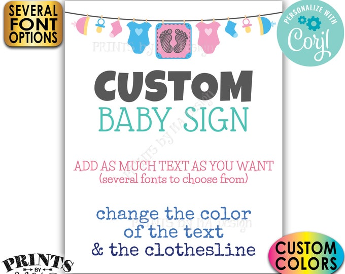 """Custom Baby Theme Baby Shower Sign, Choose Your Text, One PRINTABLE 8x10/16x20"""" Portrait Poster <Edit Yourself with Corjl>"""