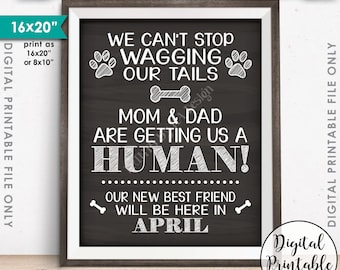 Pregnancy Announcement for Dogs, Mom & Dad are Getting Us a Human, Due in APRIL Dated Chalkboard Style PRINTABLE Pregnancy Reveal Sign <ID>