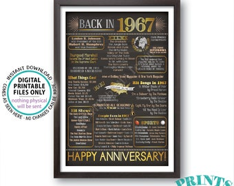 "Anniversary Party Married in 1967, Flashback to 1967 USA History Back in 1967 Flashback Poster, PRINTABLE 20x30"" Sign <ID>"