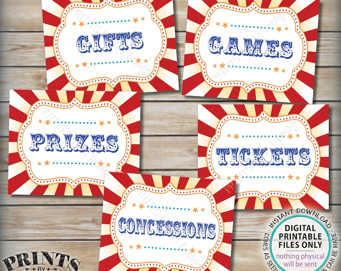 """Carnival Signs, Carnival Games, Prizes, Tickets, Concessions, Gifts, Carnival Bundle Pack, Circus Party, PRINTABLE 8x10/16x20"""" Signs <ID>"""
