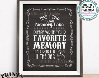 "Share a Memory Sign, Trip Down Memory Lane, Share a Favorite Memory Whiskey Birthday Retirement, PRINTABLE 8x10"" Chalkboard Style Sign <ID>"