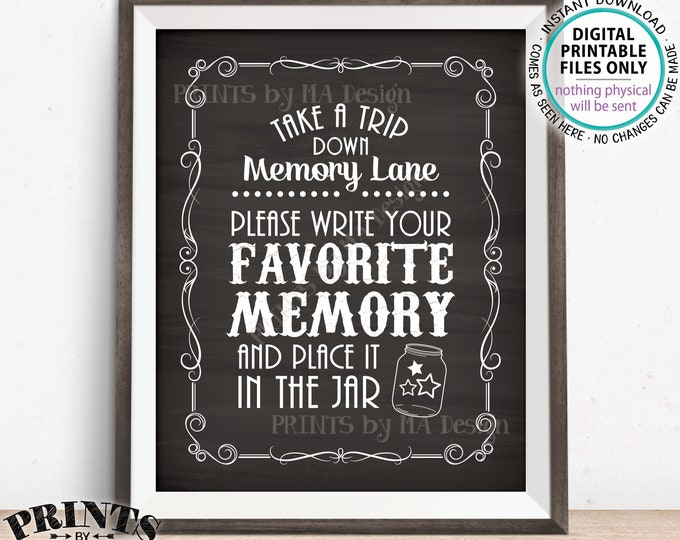 """Share a Memory Sign, Trip Down Memory Lane, Share a Favorite Memory Whiskey Birthday Retirement, PRINTABLE 8x10"""" Chalkboard Style Sign <ID>"""