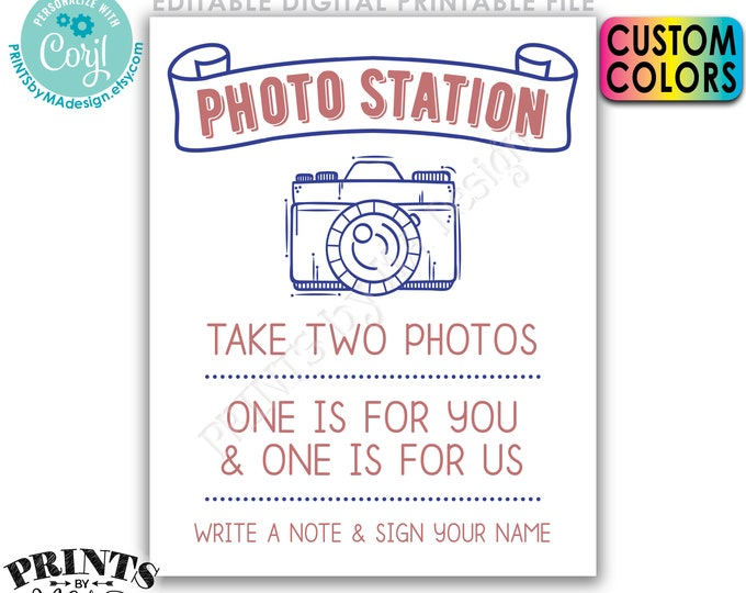 """Photo Station Sign, Take Two Photos & Leave One For Us, Write a Note, Photobooth, PRINTABLE 8x10/16x20"""" Sign <Edit Colors Yourself w/Corjl>"""