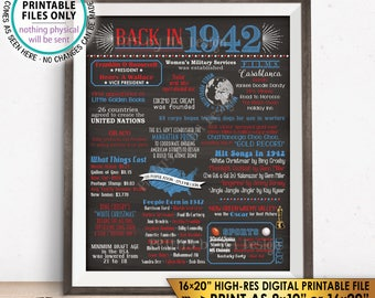"1942 Flashback Poster, Flashback to 1942 Patriotic USA History Back in 1942 Birthday Party, Chalkboard Style PRINTABLE 16x20"" Sign <ID>"