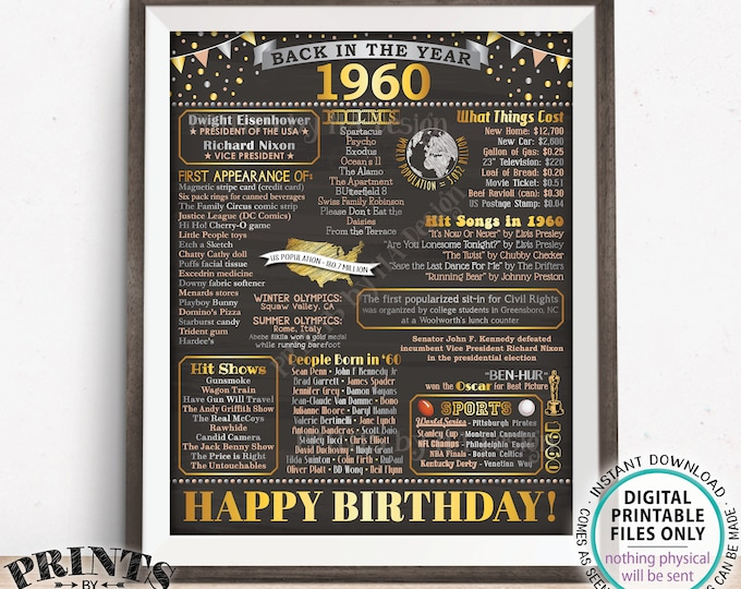 "Back in the Year 1960 Birthday Sign, Flashback to 1960 Poster Board, '60 B-day Gift, Bday Decoration, PRINTABLE 16x20"" Sign <ID>"