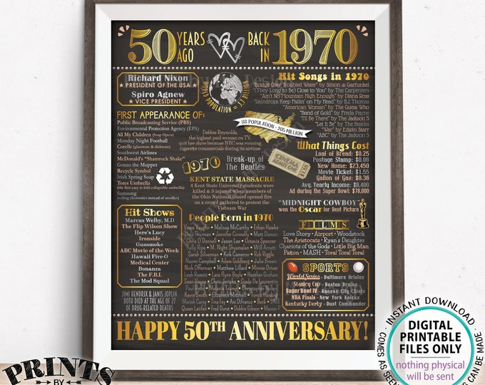 "50th Anniversary Poster Board, Married in 1970 Decor, PRINTABLE 16x20"" Sign, Back in 1970 Flashback 50 Years Ago <ID>"