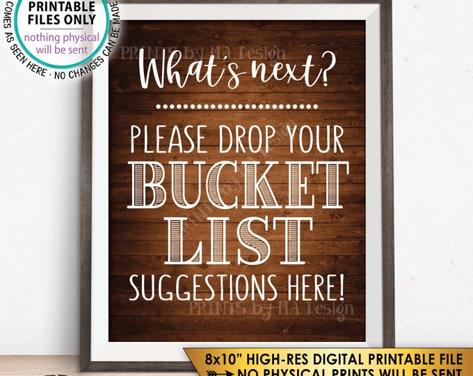 "Bucket List Suggestions Sign, Retirement, Graduation, Bon Voyage, Birthday, Wedding, Rustic Wood Style PRINTABLE 8x10"" Instant Download"