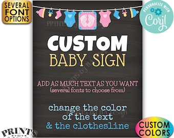 """Custom Baby Theme Chalkboard Style Baby Shower Sign, Choose Your Text, One PRINTABLE 8x10/16x20"""" Portrait Poster <Edit Yourself with Corjl>"""