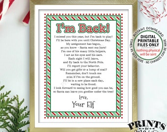 "Welcome Back Letter to Kids from their Christmas Elf Hello Letter, I'm Back, Elf has Returned, PRINTABLE 8.5x11"" Elf Sign <Instant Download>"