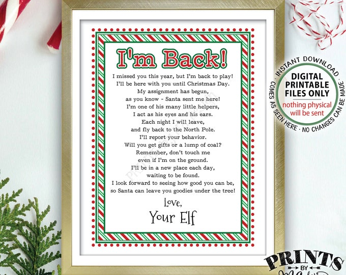 """Welcome Back Letter to Kids from their Christmas Elf Hello Letter, I'm Back, Elf has Returned, PRINTABLE 8.5x11"""" Elf Sign <Instant Download>"""