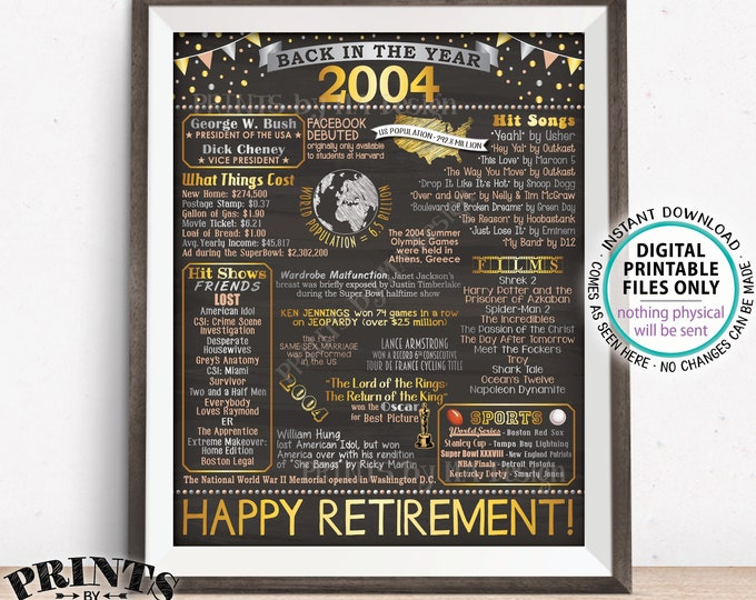"Back in 2004 Retirement Party Poster Board, Flashback to 2004 Sign, PRINTABLE 16x20"" Retirement Party Decoration <ID>"
