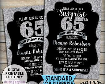 "Silver Birthday Party Invitation, Silver B-day, 30th 40th 50th 60th 70th Birthday Invite, Black & Silver Glitter 5x7"" PRINTABLE Invitation"