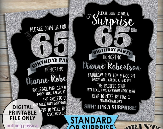 "Silver Birthday Party Invitation, Silver B-day, 30th 40th 50th 60th 70th Birthday Invite, Black & Silver Glitter 5x7"" PRINTABLE Invitation"