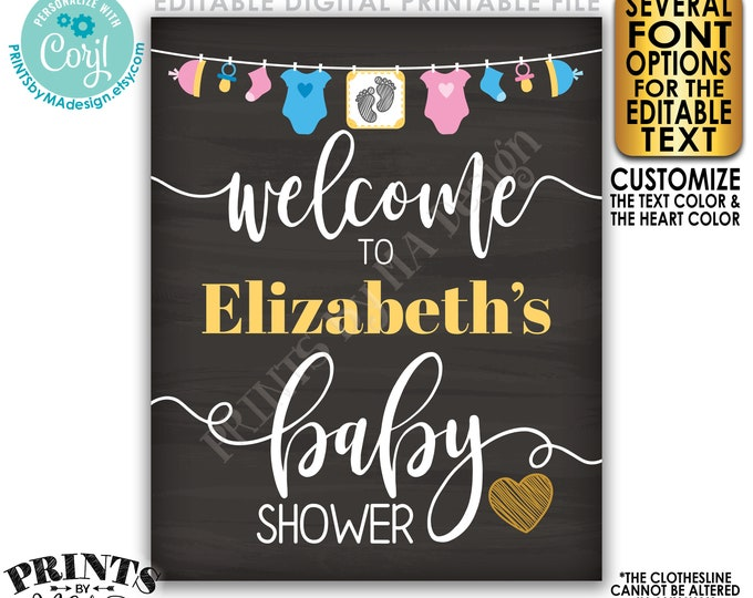 "Editable Baby Shower Welcome Sign, Pink & Blue Decor Clothesline, PRINTABLE 8x10/16x20"" Chalkboard Style Sign <Edit Yourself w/Corjl>"