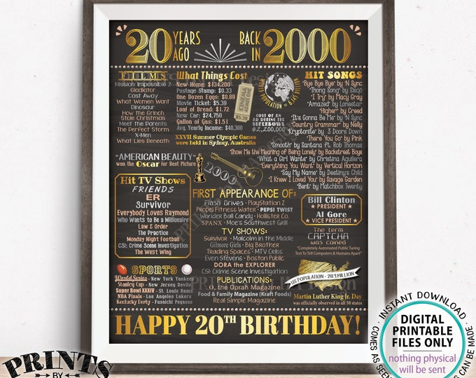 "20th Birthday Poster Board, Back in the Year 2000 Flashback 20 Years Ago B-day Gift, PRINTABLE 16x20"" Born in 2000 Sign <ID>"
