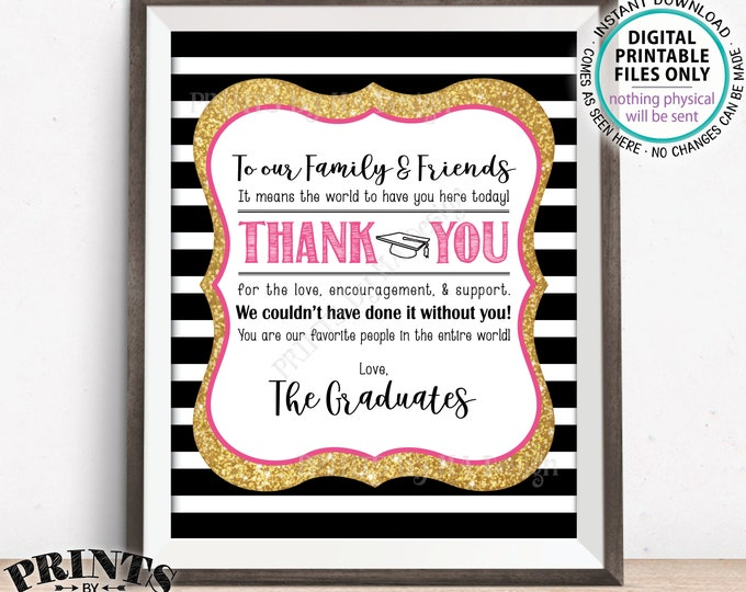 "Graduation Thank You Sign, Thanks from the Graduates Thank You Graduation Party Decor, Grads, PRINTABLE 8x10"" Black/Pink/Gold Grad Sign <ID>"