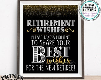 "Retirement Wishes Sign, Retirement Party Decoration, Celebrate the New Retiree Black/Gold Glitter PRINTABLE 8x10/16x20"" Retirement Sign <ID>"