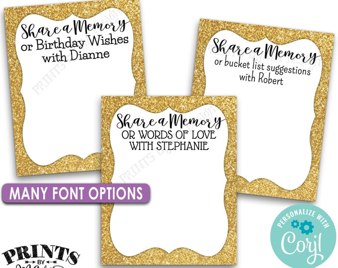 "Share a Memory Cards, Graduation Party, Retirement Advice Wishes, Gold, PRINTABLE 8.5x11"" Sheet of 4x5"" Cards <Edit Yourself with Corjl>"
