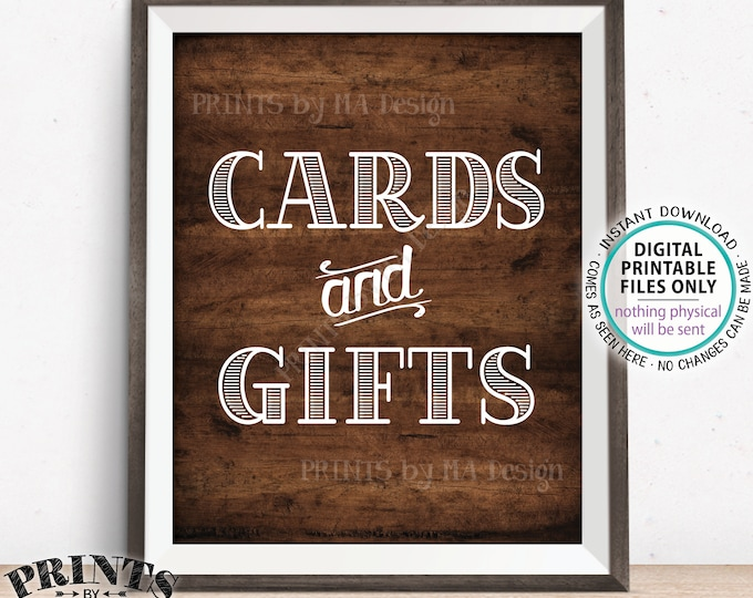 "Cards and Gifts Sign, PRINTABLE 8x10"" Brown Rustic Wood Style Gift Table Sign, Portrait <ID>"