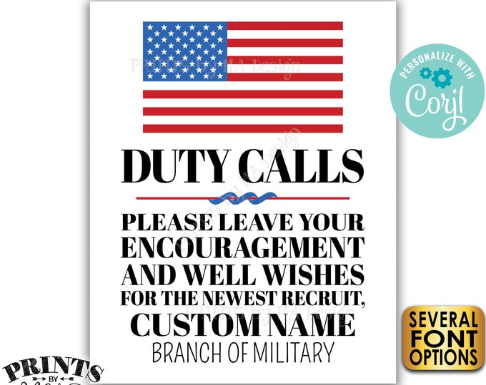 Leave your Encouragement and Well Wishes for the Newest Recruit, US Military, Custom PRINTABLE Patriotic Sign <Edit Yourself with Corjl>