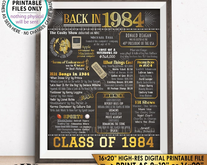 """Class of 1984 Reunion 34 Year Reunion Back in 1984 Flashback to 1984 34 Years Ago, Gold, PRINTABLE 8x10/16x20"""" Chalkboard Style Sign <ID>"""