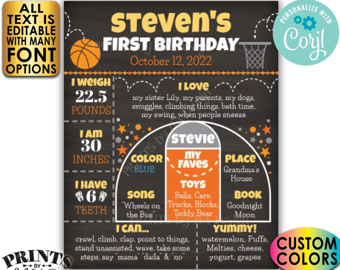 Basketball Birthday Board, Personalized Milestones Poster, Custom PRINTABLE Chalkboard Style 1st B-day Stats Sign <Edit Yourself w/Corjl>