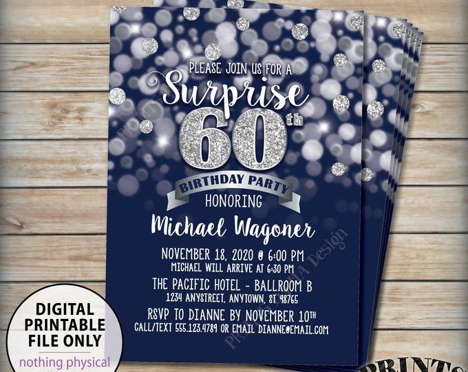 "Surprise Birthday Party Invitation, 30th 40th 50th 60th 70th Birthday Invite, Navy & Silver Glitter PRINTABLE 5x7"" Bday Invite, Digital File"