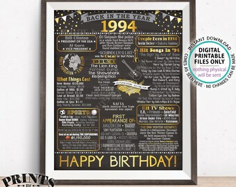 """1994 Birthday Poster Board, Back in 1994 Birthday Decoration, Flashback to 1994 B-day Gift, PRINTABLE 16x20"""" Sign <ID>"""