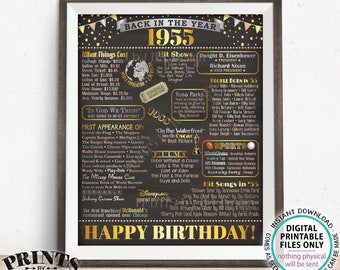 """Back in the Year 1955 Birthday Sign, Flashback to 1955 Poster Board, '55 B-day Gift, Bday Decoration, PRINTABLE 16x20"""" Sign <ID>"""