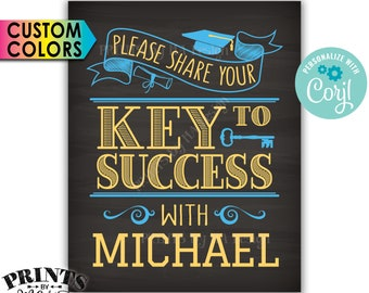 """Graduation Key to Success Sign, PRINTABLE 8x10"""" Chalkboard Style Graduation Party Decoration <Edit Yourself with Corjl>"""