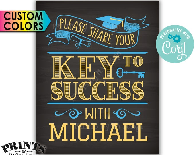 "Graduation Key to Success Sign, PRINTABLE 8x10"" Chalkboard Style Graduation Party Decoration <Edit Yourself with Corjl>"