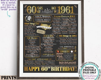 """60th Birthday Poster Board, Born in the Year 1961 Flashback 60 Years Ago B-day Gift, PRINTABLE 16x20"""" Back in 1961 Sign <ID>"""